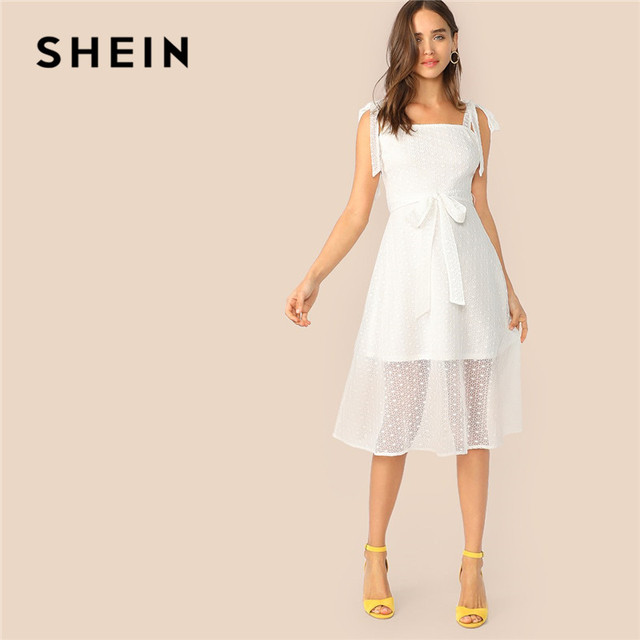 6a4241a1679 SHEIN Knot Strap Lace Overlay Belted Summer Dress Women Romantic White  Party Dress Sleeveless Solid High Waist A Line Midi Dress
