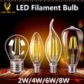 Эдисон Ретро Стекло E27 Светодиодные Лампы Накаливания Привело E14 Свечах лампа COB 220 В 2 Вт 4 Вт 6 Вт 8 Вт Накаливания СВЕТОДИОДНЫЕ Лампы Lampara