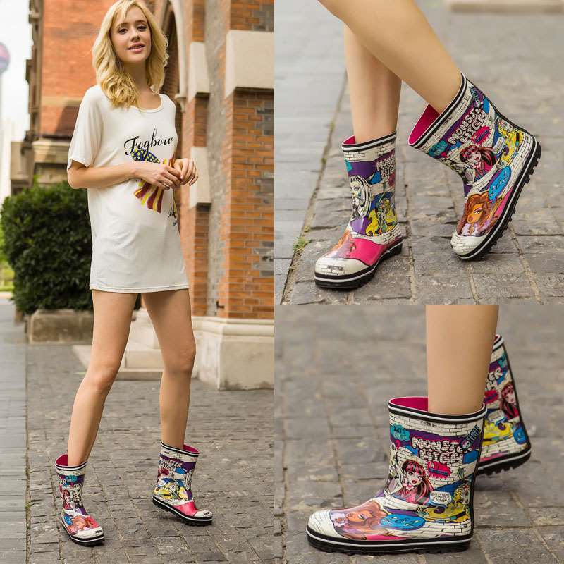 2019 new fashion cute ladies rain boots boots anti-skid wear rain boots water  rubber shoes EU size 34-40