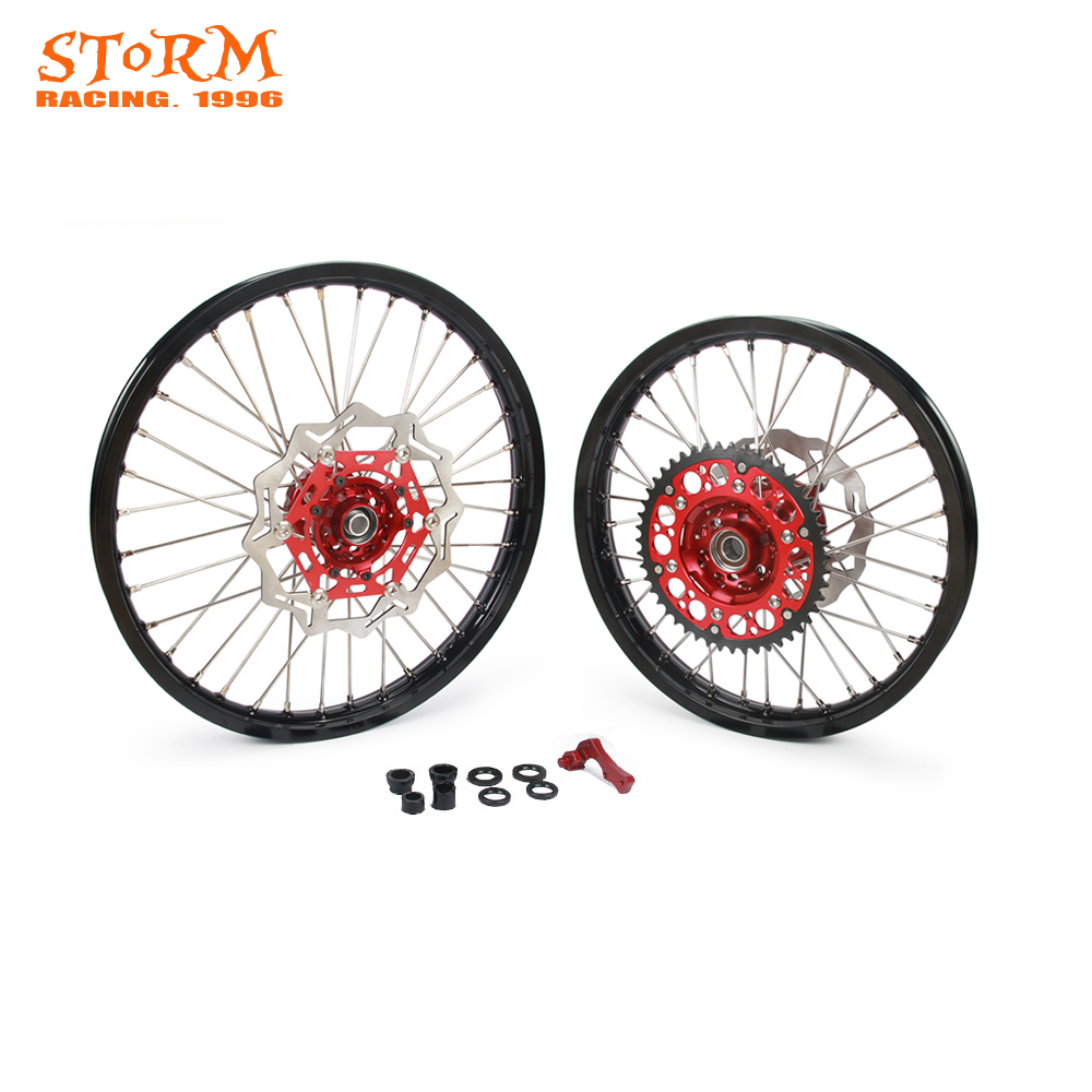 Motorcycle Wheel Rim Hubs Set 1.6*21 2.15*18 For Honda CRF125 CRF250 CRF250R CRF450X CRF250X CRF 125 250 250R R 450X 450 X 250X cnc dirt bike offroad motorcycle brake clevis rod joint for honda crf 250r crf250x crf 450 crf450