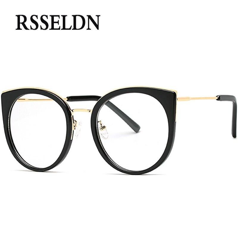 rsseldn newest fashion women eyeglasses frames brand designer cat eye glasses frame clear round glasses oculos
