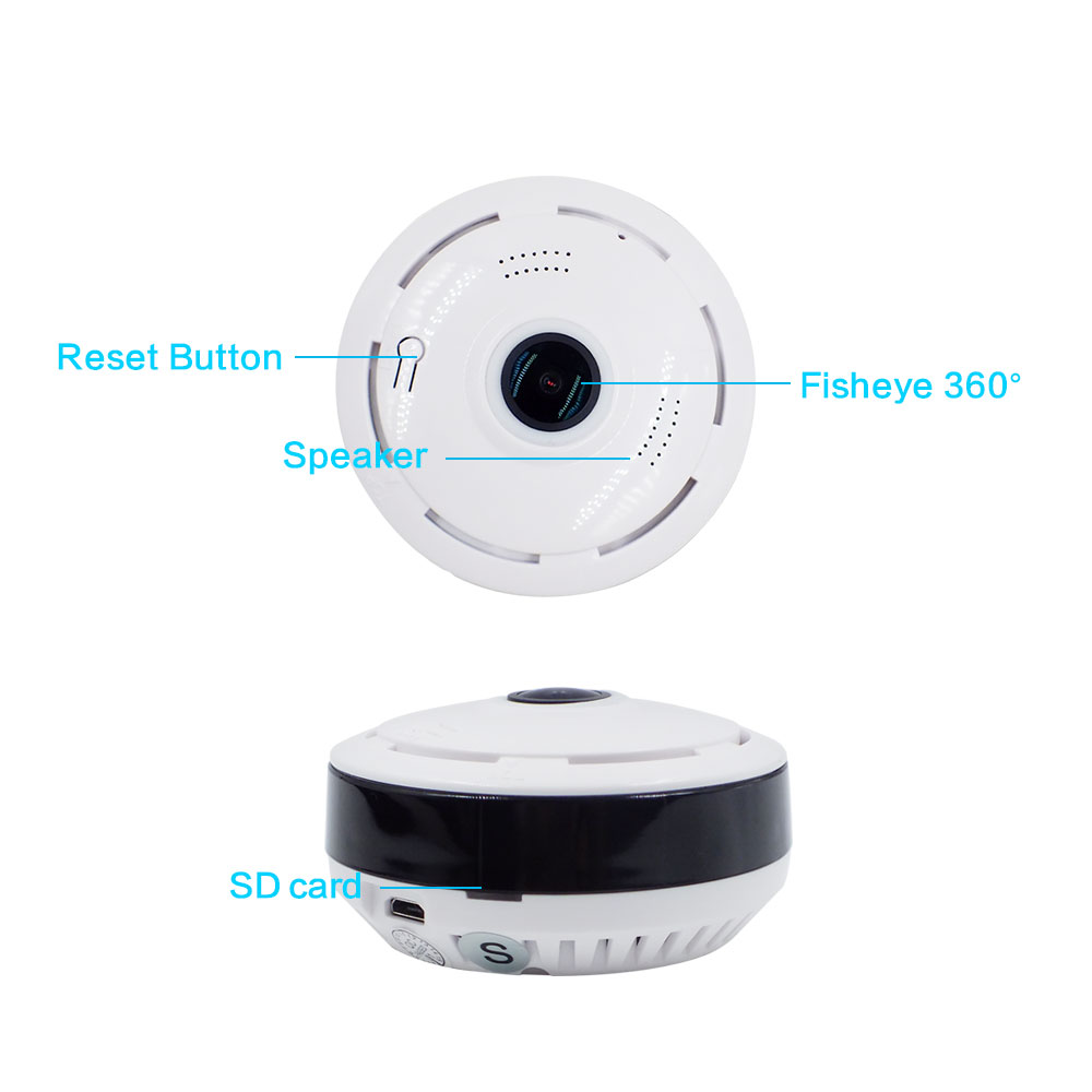 Funi IP Cam IP Camera Wireless Wi-fi Video Surveillance Night Security Camera Indoor Baby Monitor VR Panoramic Camera (White) ip cam