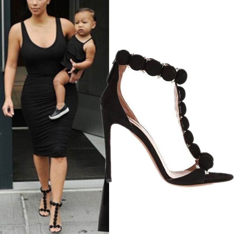 Button Embellished T Strap Sandals Sexy High Heel Pumps Sandals Summer Celebrity Street Shoes Women