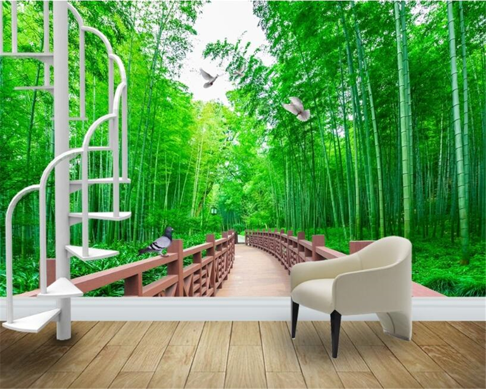 high quality forest road wallpaper buy cheap forest road wallpaper beibehang advanced personality wallpaper corridor quiet landscape painting fresh bamboo forest road background papel de parede