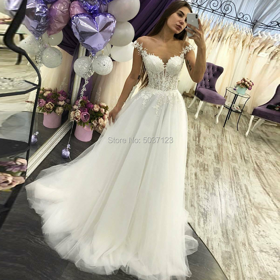 A Line Wedding Dresses Off the Shoulder V Neck Lace Appliques Sleeveless Sweep Train Tulle Vestido De Noiva Mariage Custom-in Wedding Dresses from Weddings & Events