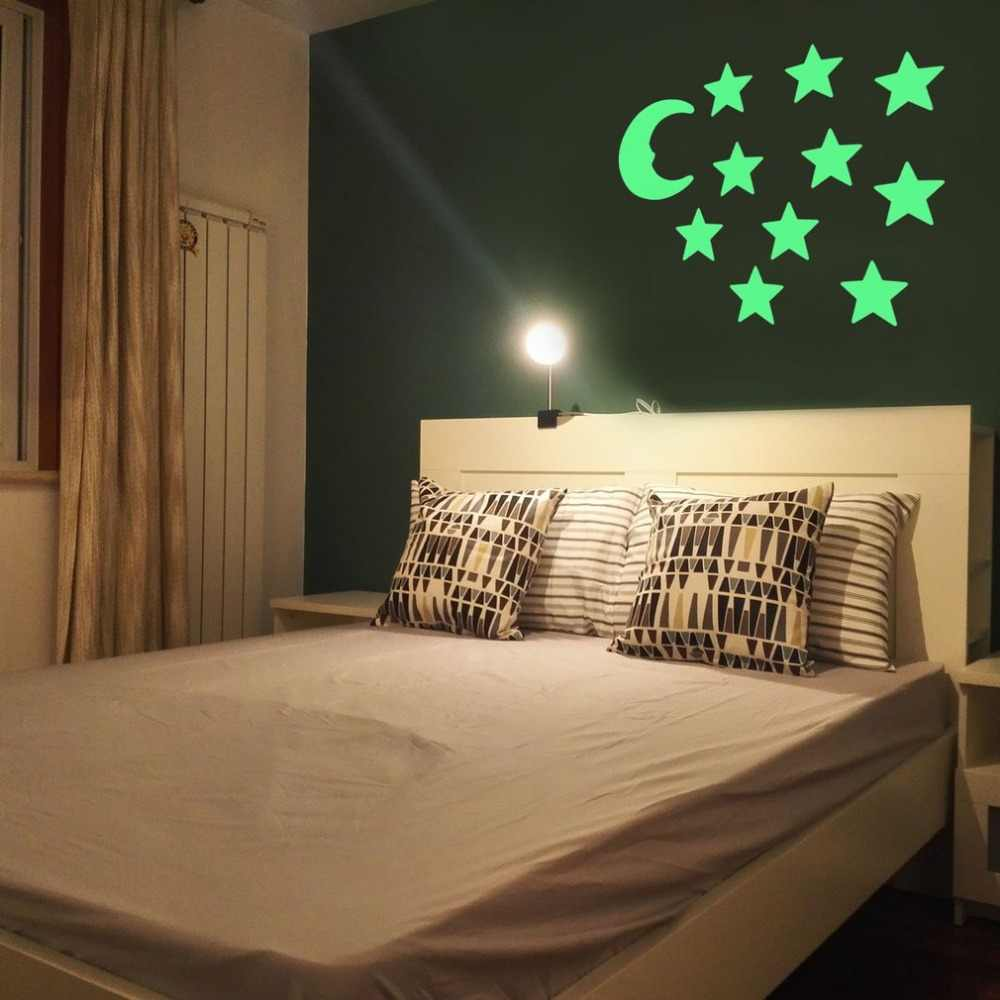 DIY pegatinas de pared luminosas fluorescentes estrellas Luna brillo estilo en la oscuridad hogar niños habitaciones dormitorio decoración de pared regalos