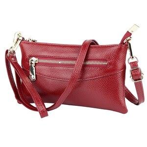 Image 5 - Zipper luxo Azul/Vermelho/Preto/Cinza Mulheres Embreagem Bolsas Mensageiro Genuínos das Mulheres de Couro bolsa de Ombro Bolsa de Moda pequenos Sacos