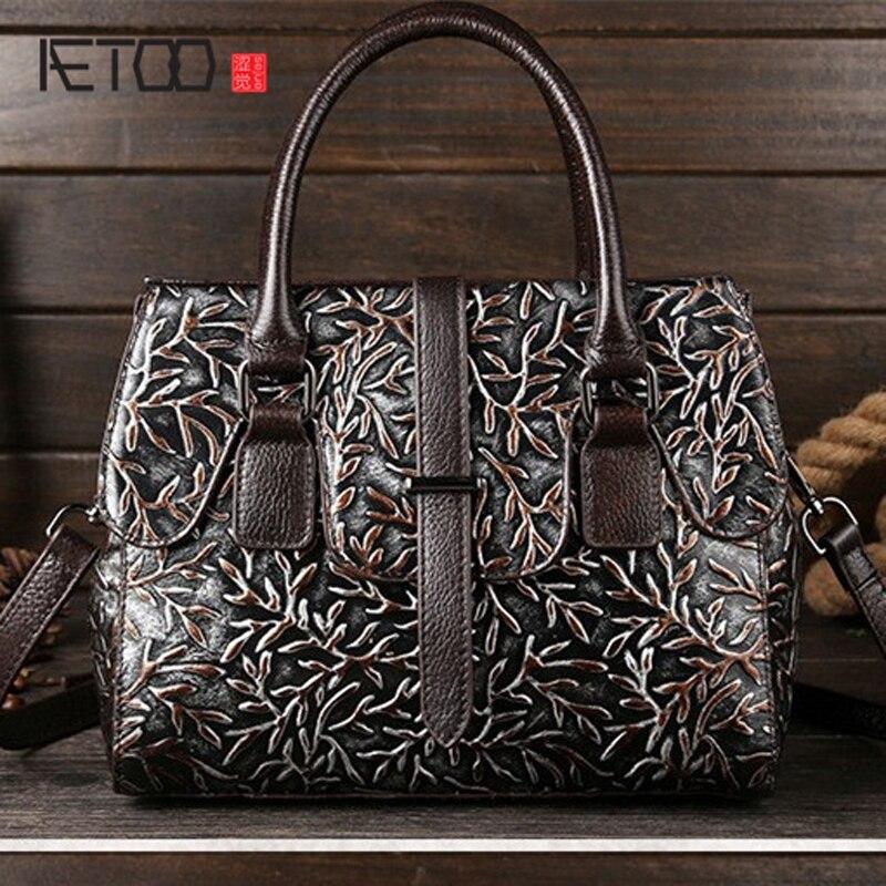 AETOO brand New leather handbag leather embossed retro casual brush color Shoulder Messenger Bag Handbag real leather women bags