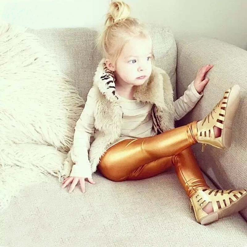 Tikilisa 2017 Quality Girl Leggings Elastic 4-10Y Pants Skinny Gold Silver kids Metal Colors Sequined Fuax Leather Baby Legging