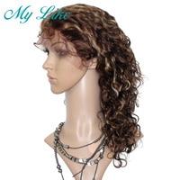 Мой Лайк Человеческие волосы Синтетические волосы на кружеве Искусственные парики Черный Для женщин Реми бразильские парик вьющиеся волос