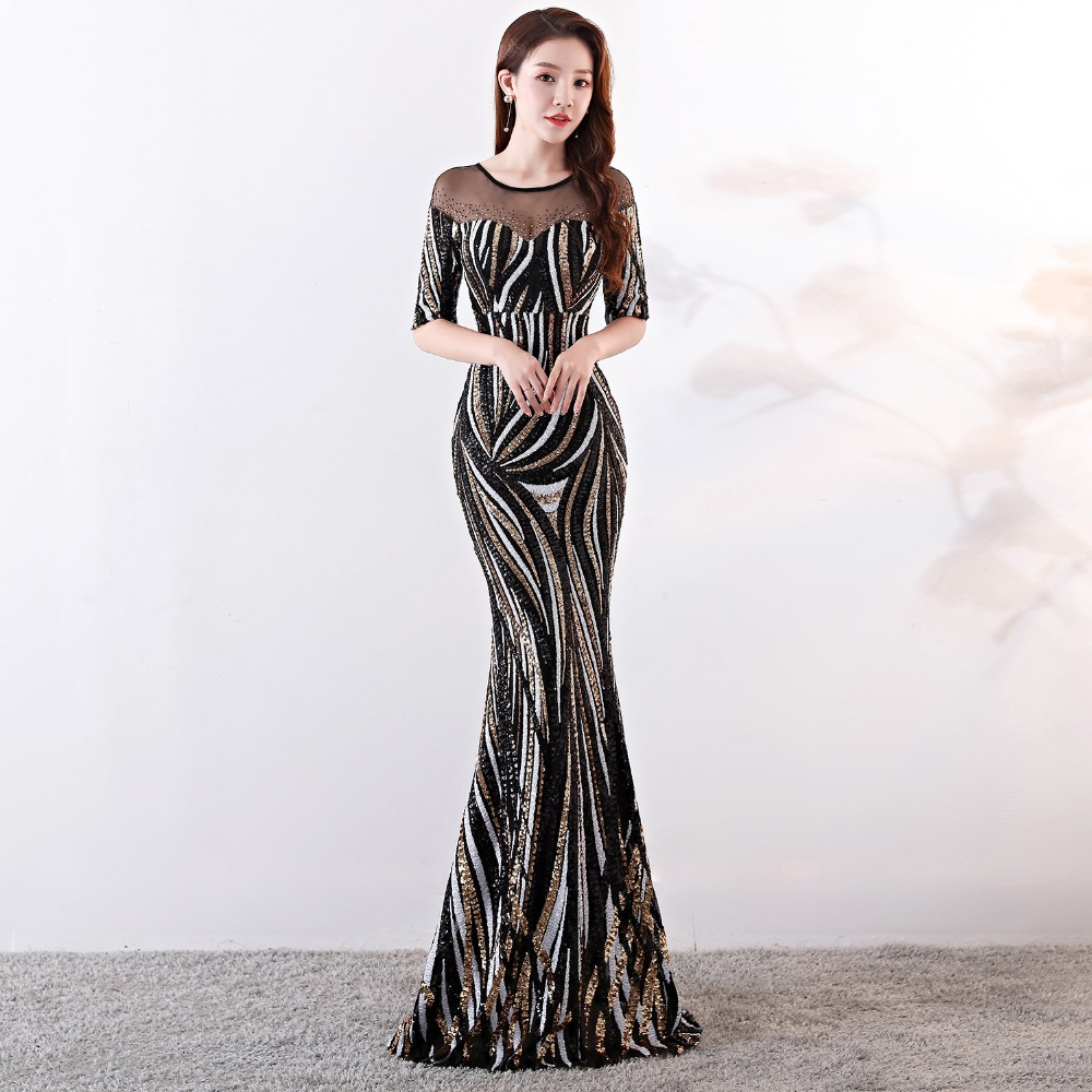 Elegant Crystal Beaded See Through Voile Shor Sleeve Mermaid Long Formal Dresses For Women 2018 Sexy Nightclub Wear Party Dress (20)