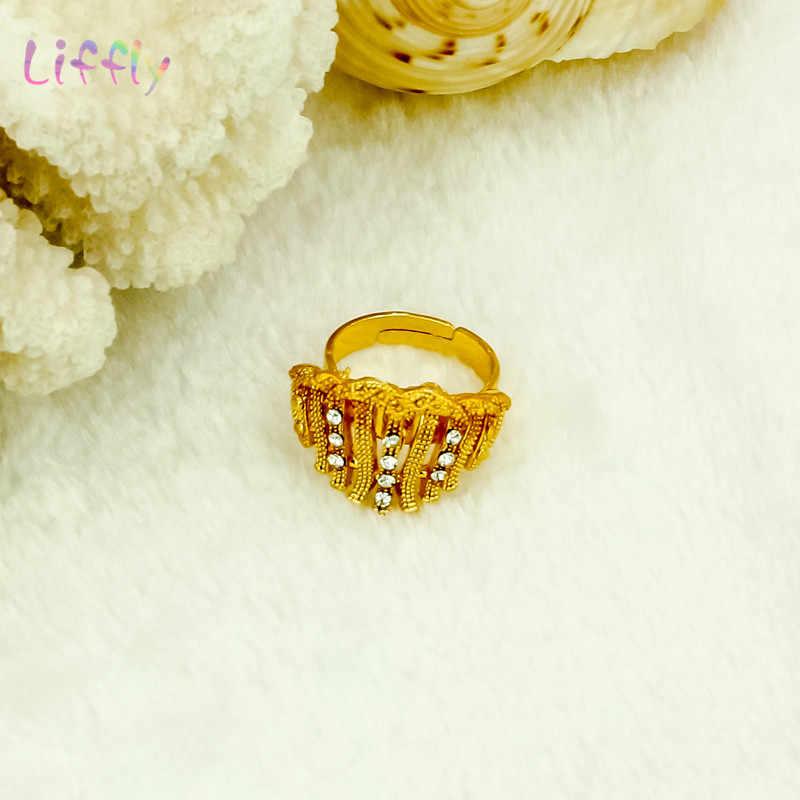 Dengan Liffly Fashion Perhiasan Set Nigeria Dubai Emas Perhiasan Set untuk Wanita Afrika Manik-manik Pengantin Kuning Perhiasan Set Pernikahan Hadiah