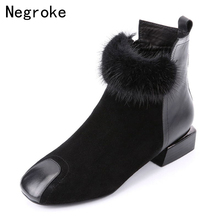 New Designer Women Ankle Boots Female Faux Suede Fur Leather 2019 Fashion Warm Plush Winter Shoes Botas Mujer Plus size 42