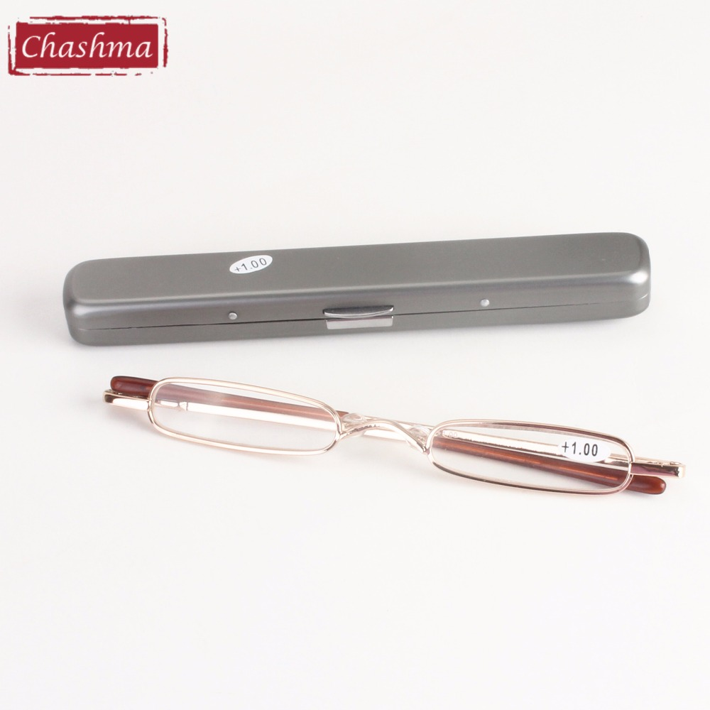 Chashma New Fashion Women Women Pen olovka tanke male metalne naočale za čitanje s futrolom