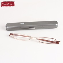Chashma New Fashion Women Men Pen Style Slim Small Metal Reading Glasses with Case