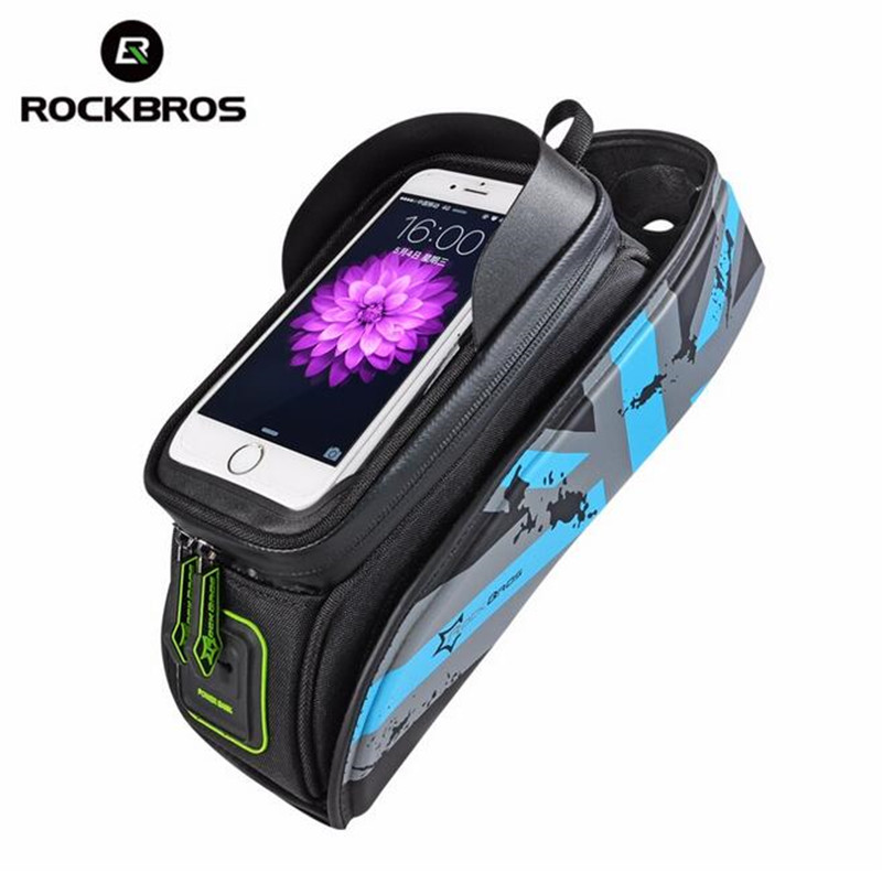ROCKBROS Waterproof Bicycle Bags Touchscreen Bike Bag Frame Front Head Top Tube Bag Bike Accessories For