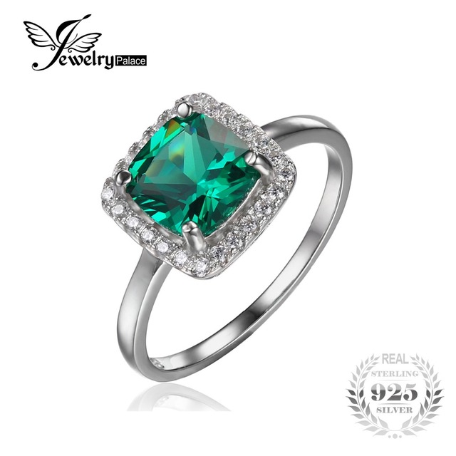 JewelryPalace Cushion 2.3ct Created Nano Russian Emerald Engagement Halo Ring Solid 925 Sterling Silver Rings for Women Fashion