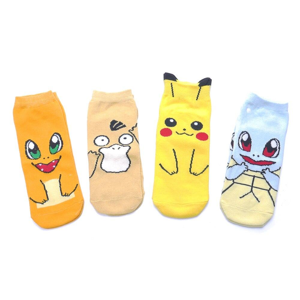 New Fashion Popular Cute Pokemon Cotton Ankle Novelty Sox Japanese Cartoon Raichu Charmander Funny Socks Christmas Gift