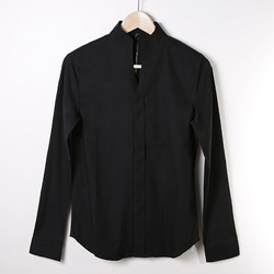 Eenvoudige Stand Kraag Shirt Persoonlijkheid mannen Mode Wilde Shirt Stretch Slim Dark Black
