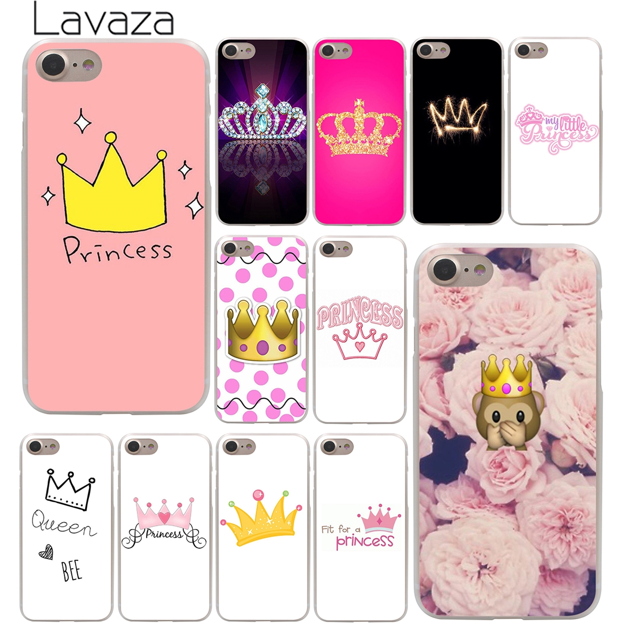 Lavaza PRINCESS Queen boss crown king Hard Phone Cover Case for Apple iPhone X XR XS Max 6 6S 7