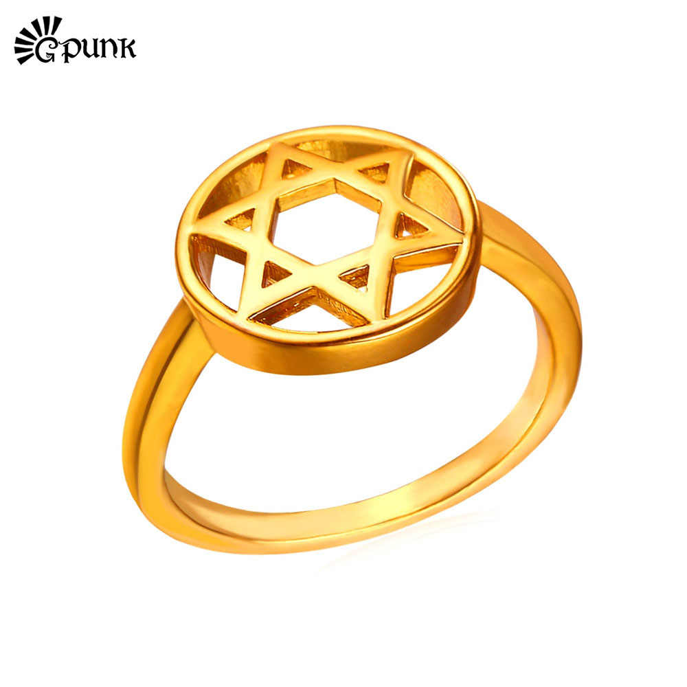 Star of David Ring Magen Jewelry Gold color Finger ring For Women men R23G