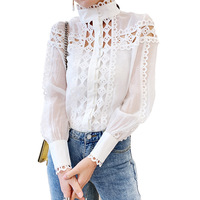 TVVOVVIN 2019 New Summer Fashion Women Clothes Stand Collar Lantern Sleeves Hollow Out Single Breasted Shirt Blouse C166