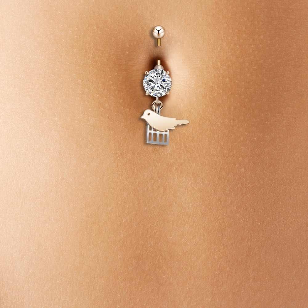 QIMING Аксессуары для девочек ювелирные изделия Милая птица пупка кольцо болтается пирсинг ювелирные изделия