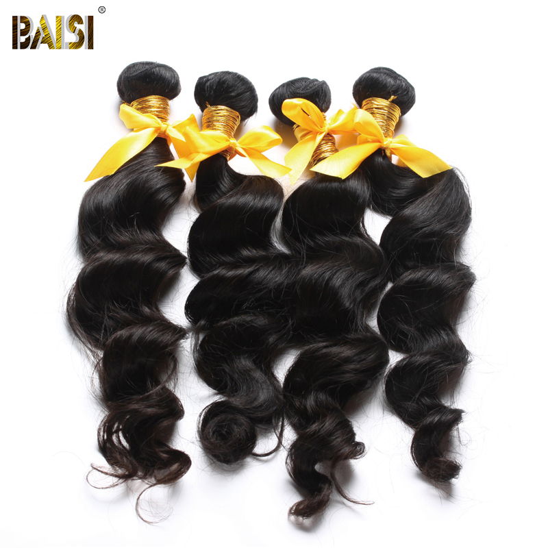 BAISI Weave Hair Hair-Unprocessed 3-Bundles 100%Human-Hair Peruvian 10A Raw Natural-Wave title=