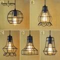 Ретро освещение для помещений винтажный подвесной светильник Светодиодные светильники промышленные металлические клетки Железный Абажур...