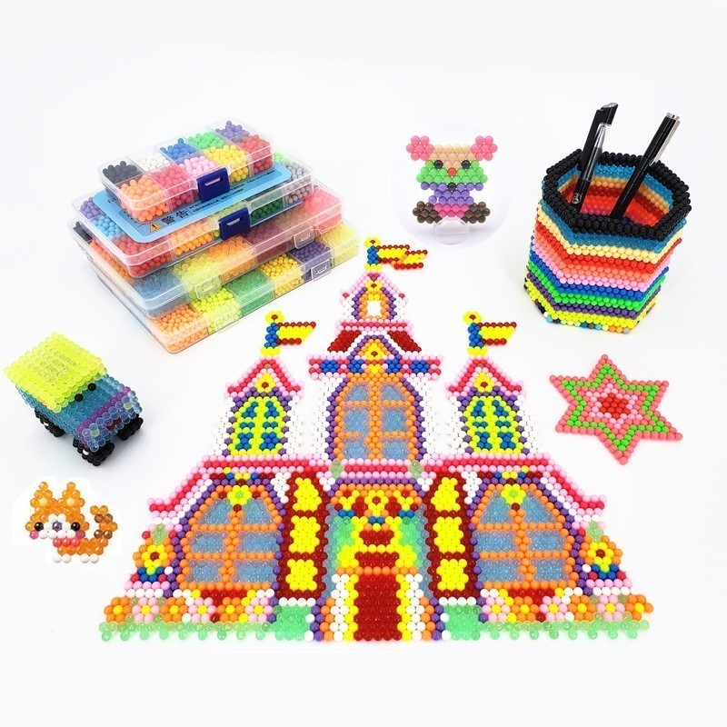 цена на Funny joy Hot Selling Aqua Beads DIY 3d Puzzles Toys Set Hama Beads Perler Beads New Year Gift Aquabeads Perlen Learn Kids Toys