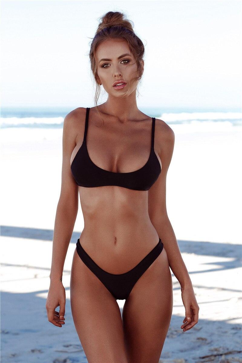 7909958e2f COMFYTRIP Sexy 2018 Micro Bikini Set Solid Swimwear Brazilian Push up  Bikini Thong Beach Wear Girl s