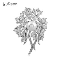 LuReen Luxury CZ Crystal Flower Christmas Brooch Pins Vintage Simulated Pearl Brooches For Women Wedding Jewelry Gifts LP0035
