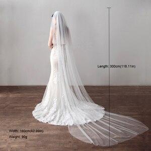 Image 5 - צעיף ארוך 3 מטר קתדרלת חתונת רעלות קצה לחתוך כלה רעלה עם מסרק כלה אביזרי כלה רעלה