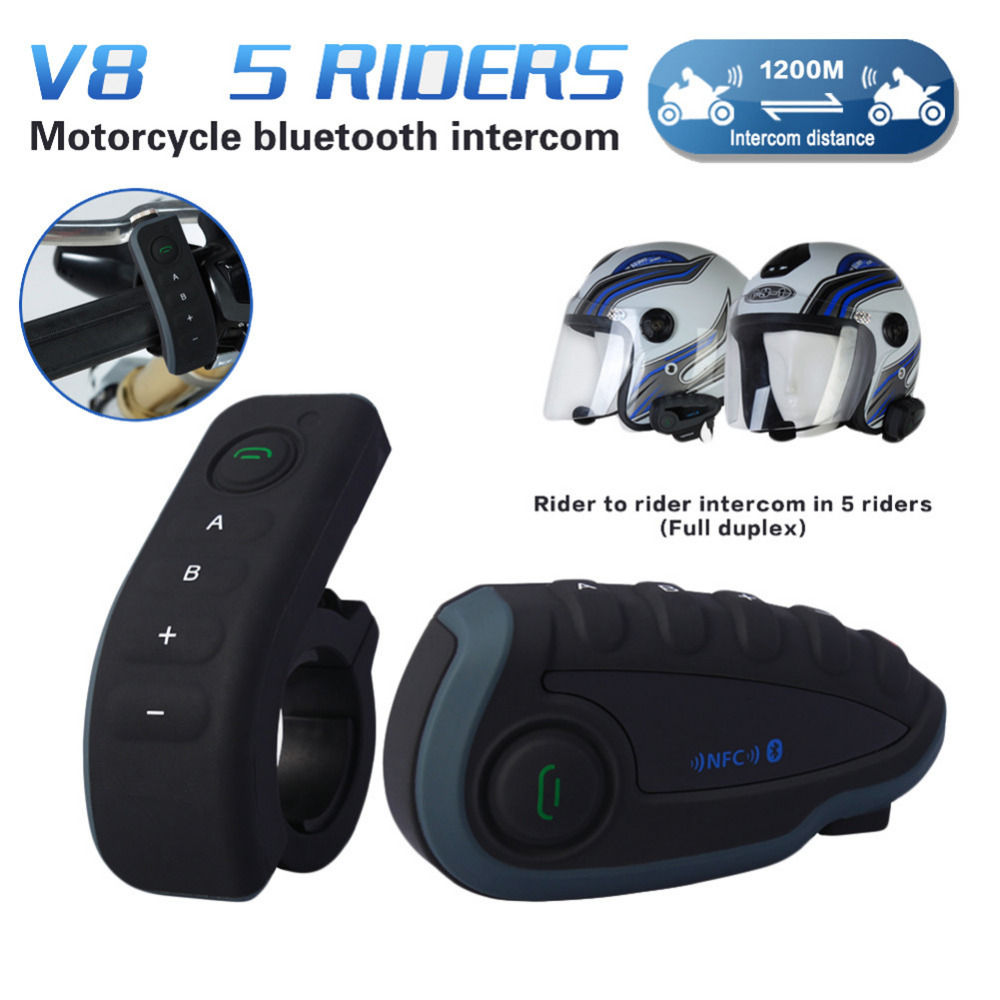 Remote Control V8 1200M Interphone FM NFC Bluetooth Motorcycle Intercom Interphone Intercomunicador Headset For 5 Riders