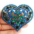 Pretty Fashion Green crystal rhinestone heart gilded decoration brooch pins Unique jewelry party