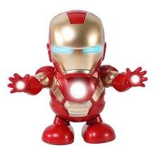 Marvel Новые горячие Мстители игрушки танцующий Железный человек робот с светомузыкальная игрушка Tony Stark электрическая фигурка игрушка для детей подарок