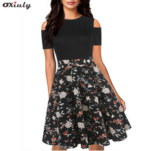 Oxiuly Vintage Hollow Out Spaghetti Strap Floral Print Patchwork Work Dress A-Line Female Fit And Flare Knee Length Causal Dress stripe floral print fit and flare dress