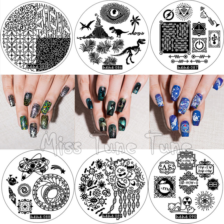 Science Nail Designs: 6pcs NEW Premium Nail Stamping Plates Template Science