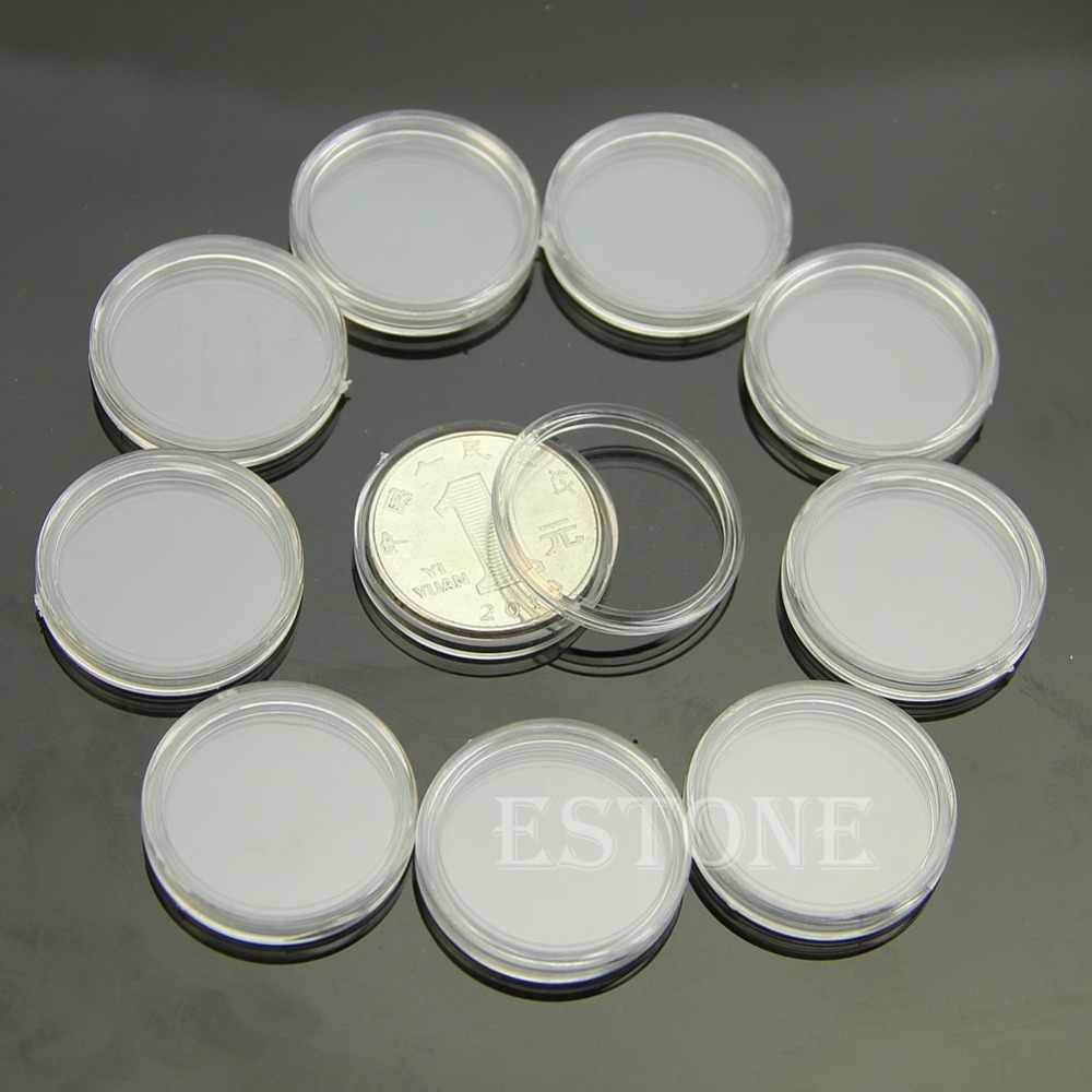 10 PCS Applied Clear Round Cases Coin Storage Capsules Holder Round Plastic 23mm