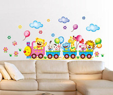 Removable Wall Stickers Cartoon Cute Animals Train Balloon