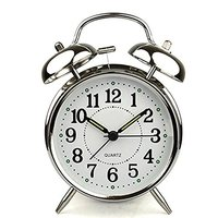 4 Inch Alarm Clock With Loud Alarm Quartz Stainless Metal Alarm Clock Battery Operated Ship From