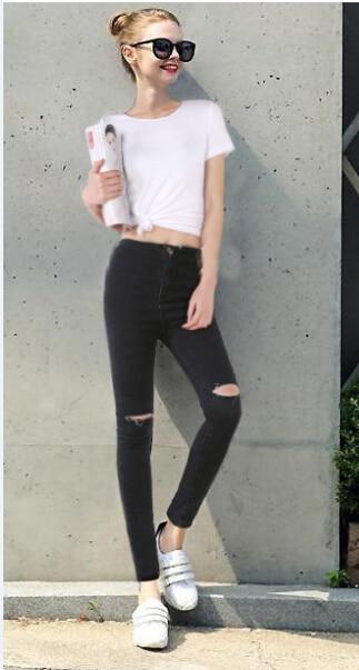 71c525848 High Waist Jeans Woman Knee Skinny Pencil Pants Slim Denim Ripped Boyfriend Jeans  Women Elastic Black Ripped Jeans plus size 4XL