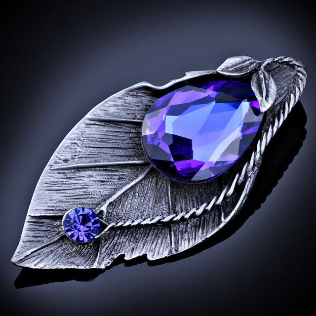 FARLENA Jewelry Vintage Color Crystal Leaf Brooches and pins Hot Ancient Silver