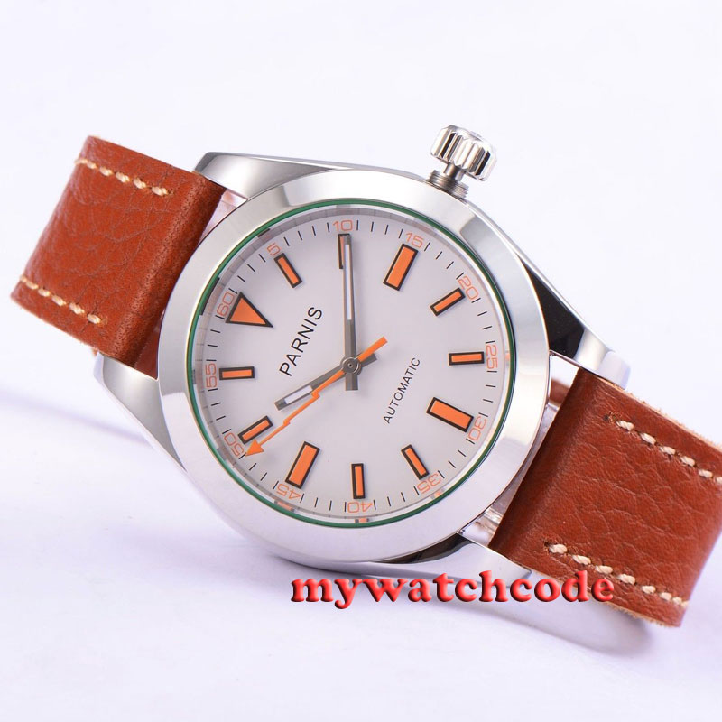 40mm Parnis white dial leather strap Sapphire glass automatic mens watch P201 40mm parnis white dial vintage automatic movement mens watch p25