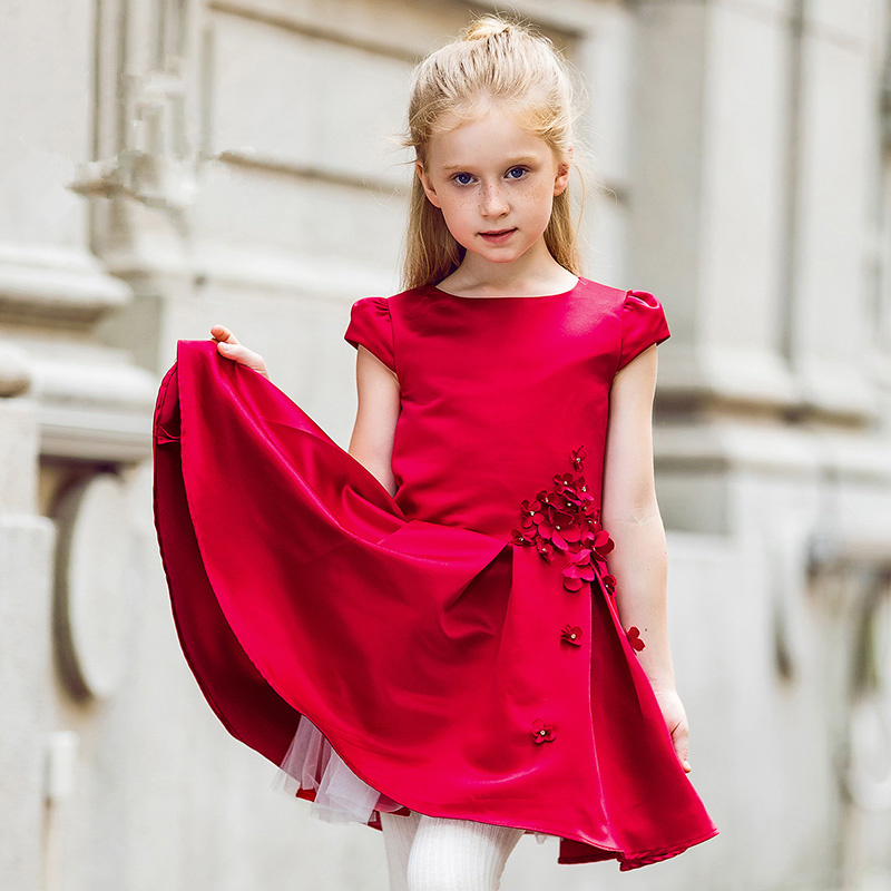 Brand children's clothing girls princess dress wedding dress petti dress show dress dance dress flower girl red dress dress gina bacconi dress