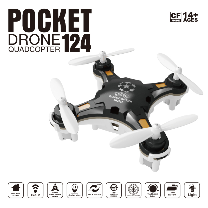 SBEGO 124 Mini Pocket Drone FQ777 124 4CH 6Axis Gyro Quadcopter With Switchable Controller RTF