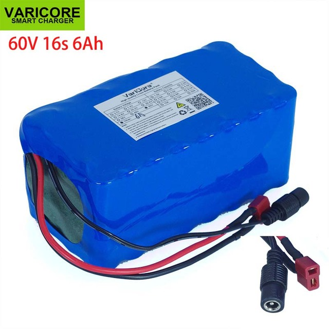 VariCore 16S2P 60V 6Ah 18650 Li ion Battery Pack 67.2V 6000mAh Ebike Electric bicycle Scooter with 20A discharge BMS 1000Watt