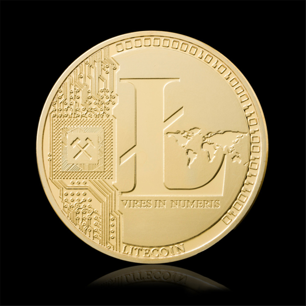 1pcs Gold Silver Plated Litecoin LTC Replica Art Collection Gift Physical Metal Antique Imitation Litecoins Non-currency Coins