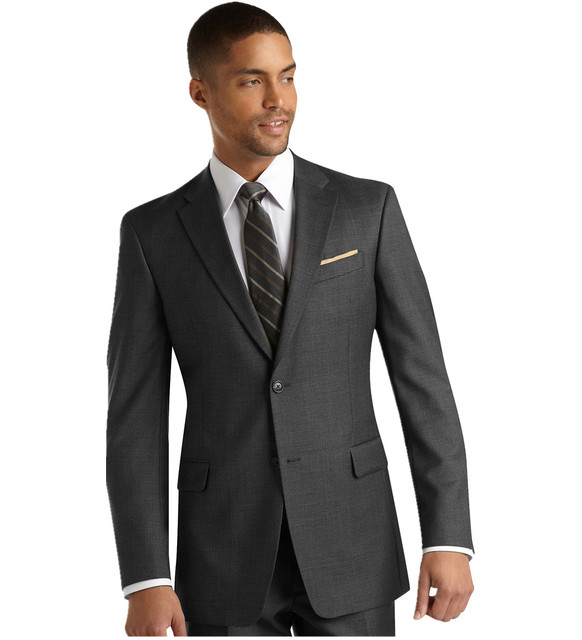 Costume Homme Terno Fit Notch Lapel Tuxedos Blend Two Buttons Grey