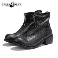 Винтажные ботинки из натуральной кожи на молнии мужские ботильоны для верховой езды с круглым носком Роскошная брендовая мужская повседне
